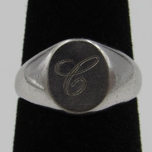 Size 3.25 Sterling Silver Petite Cursive C Ring